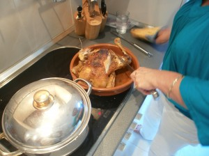 cooked farm fresh oven baked chicken in San Sebastian Spain