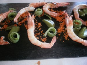 Prawns-and-French-Beans-cooked-on-Orujo-Fire-at-Akelare